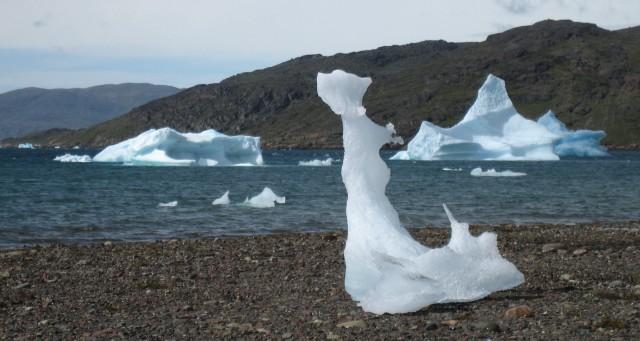 Narsaq Bay  -  rester av strandede isfjell danner isskulpturer på stranden