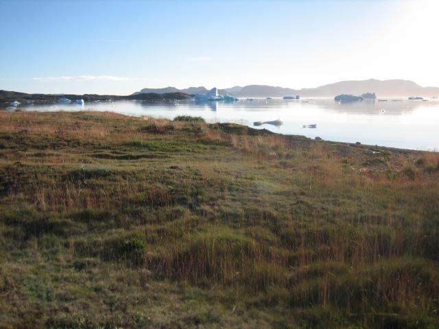 utsikt mot Narsaq Bay i motlyset