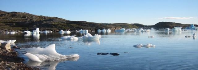 Grönland: Narsaq Bay, en sen augustkveld. Rester av isfjell blir liggende på grunn ved fjære sjø.